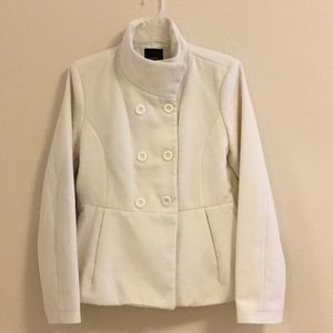 Ivory coat like-new size L Forever 21